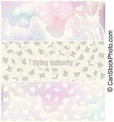 蝶, ポスター, ベクトル, デザイン, 旗