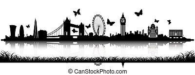 蝶, ロンドン, スカイラインのシルエット