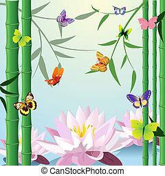 蝶, ロータス, 竹, デザイン