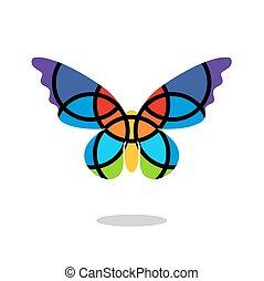 蝶, 低下, 隔離された, バックグラウンド。, ロゴ, 白, shadow., モザイク