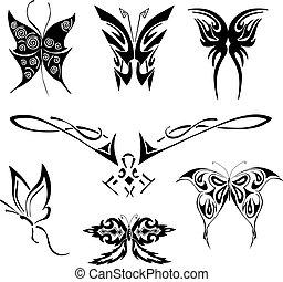 蝶, 入れ墨, セット