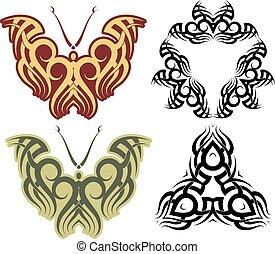 蝶, 入れ墨, デザイン