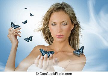 蝶, 女の子