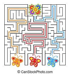 蝶, 平ら, 何か, 広場, illustration., flower., labyrinth., 単純である, 隔離された, ベクトル, 意志, ハエ, answer.