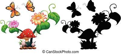 蝶, 庭, きのこ