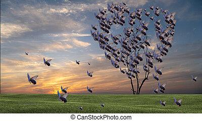 蝶, 形づくられた心, 木, 空, 日没, すてきである