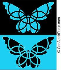 蝶, 応用, tシャツ, isolated., 反転された, ウェブサイト, ∥など∥, colors., icon.
