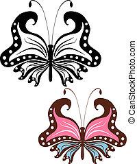 蝶, 抽象的, イメージ, openwork