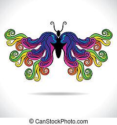 蝶, 抽象的, カラフルである