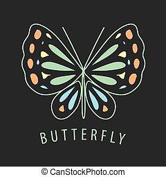 蝶, 暗い, パターン, ベクトル, 背景, ロゴ