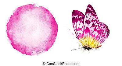 蝶, 水彩画, 背景, 白い円