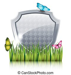 蝶, 灰色, grass., 飛行, 保護