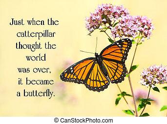 蝶, 生活, インスピレーションを与える, flower., 著者, 引用, かなり, 未知, とまった, 君主