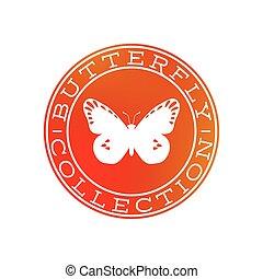 蝶, 白, デザイン, コレクション, ラベル