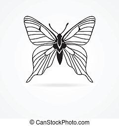 蝶, 白, 隔離された, 背景