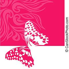 蝶, 背景, ピンク, ベクトル
