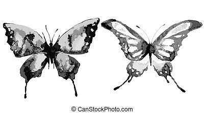 蝶, 背景, 隔離された, 水彩画, ピンク, 美しい, 白