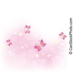 蝶, 自然, 抽象的, -, イラスト, ベクトル, デザイン, 背景, カード, 祝福
