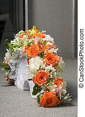蝶, 花束, オレンジ, bridal, ばら