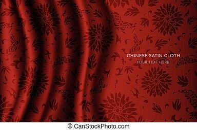 蝶, 花, 葉, 生地, 中国語, らせん状に動きなさい, 伝統的である, 布, 背景, 絹, サテン, ラウンド, 赤