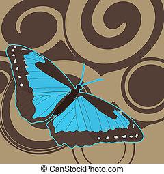 蝶, 茶色の 背景