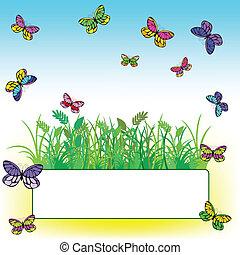 蝶, 草, カード