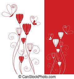 蝶, 赤い花, 抽象的