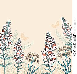 蝶, 野生の花, 背景