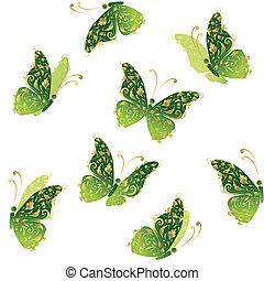 蝶, 金, 芸術, 飛行, 装飾, 緑, 花