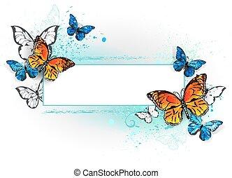 蝶, 長方形, 君主, 旗