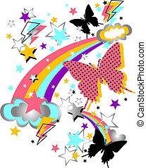 蝶, 面白い, 星, 虹, アートワーク