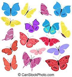 蝶, 飛行, デザイン, あなたの, コレクション