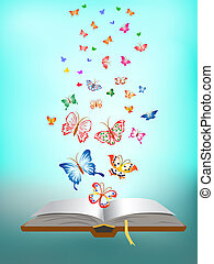 蝶, 飛行, 本, のまわり