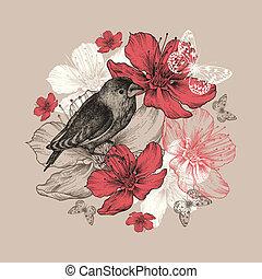 蝶, 鳥, 花, アップル, 木。, 背景, 花が咲く