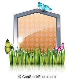 蝶, grass., 飛行, 保護