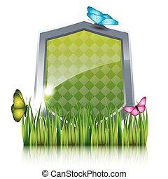 蝶, grass., 飛行, 緑, 保護