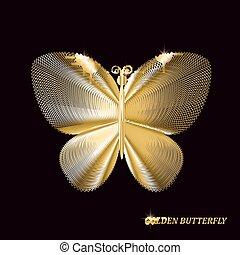 蝶, illustration., 金, バックグラウンド。, ベクトル, 黒