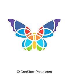 蝶, isolated., バックグラウンド。, ロゴ, 白, モザイク