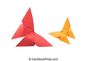 蝶, origami, 白い背景