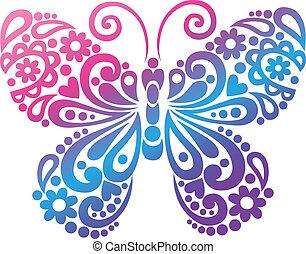 蝶, swirly, ベクトル, シルエット