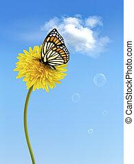 蝶, vector., 自然, 黄色, dandelion., 背景