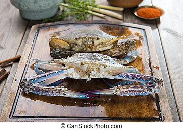 螃蟹, 準備, 香料, 烹調, 未加工