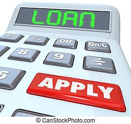 融資, 単語, お金, ローン, 借用, 適用されなさい, 計算機, 銀行