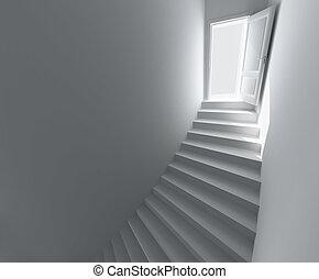 螺旋形樓梯, 到, the, 打開, door.
