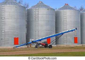 螺旋轉, 前面, 農場, 五穀, bins.