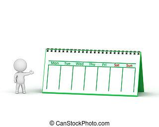 螺旋, 字, 日曆, 顯示, 3d, 捆綁