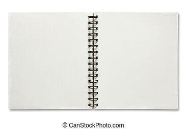 螺旋, 背景, 被隔离, 打開, 筆記本, 白色