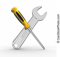 螺絲刀, 以及, 猛扭, 工具