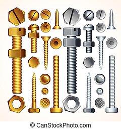 螺絲, 螺栓, 以及, 鉚釘