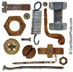 螺絲, 頭, 老, 春天, 釘子, 鉤, 生鏽